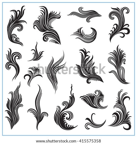 Abstract decorative plants Set 1