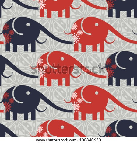 Abstract decorative print background with elephants. Seamless pattern. Vector. - stock vector