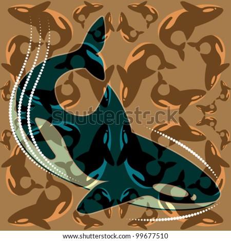 Abstract decorative textured predators whales killers. Vector. - stock vector