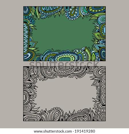 Abstract decorative vector ethnic border set - stock vector