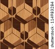 Abstract decorative wooden striped textured geometric  illusion  background. Vector. - stock vector