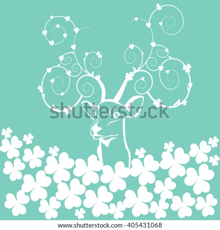 Abstract deer, butterflies, flowers, vector illustration, isolated object - stock vector