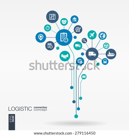 Abstract Delivery background - connected circles, integrated flat icons. Growth flower idea with logistic, service, shipping, distribution, transport, market concepts. Vector interactive illustration - stock vector