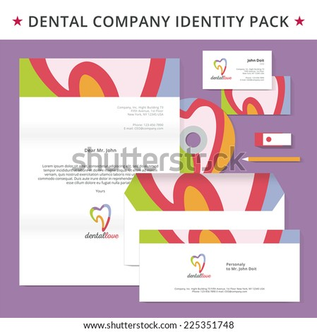 Abstract dental logo template. Dental, dentist office, tooth health, oral care, tooth care, oral care, clinic. Business card design. Tooth logo. Vector logo. Business card template. Brochure template - stock vector
