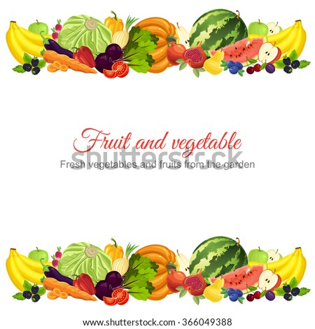 Abstract design banners or card with various fruit, berry and vegetables.