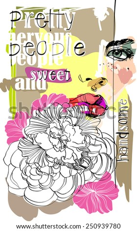 Abstract design composition with woman face and text - stock vector