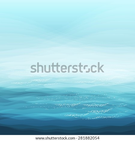 Abstract Design Creativity Background of Blue Sea Waves, Vector Illustration EPS10 - stock vector