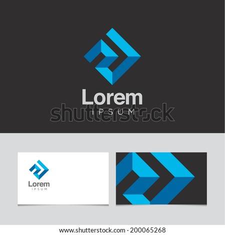 Abstract design element with business card template 01 - stock vector