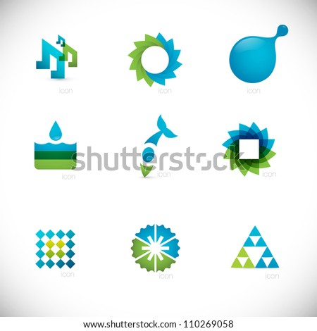 abstract design elements collection - blue & green - stock vector
