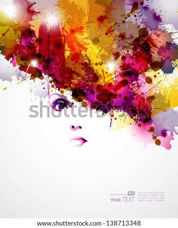 abstract  design elements with  women face - stock vector