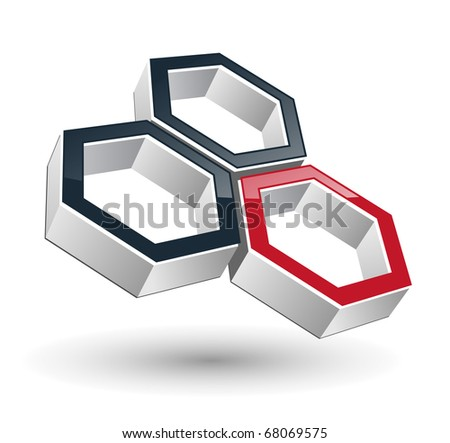 abstract design for business three hexagons,