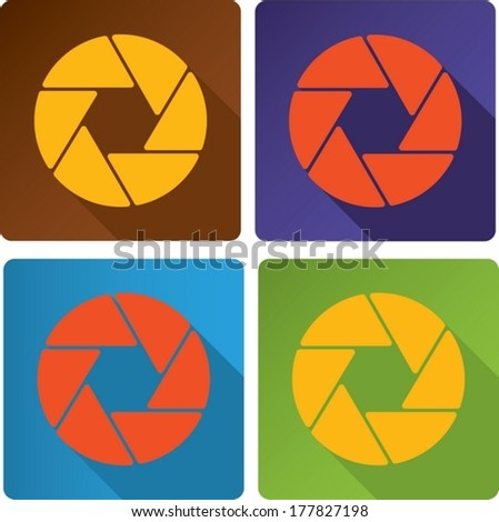 abstract design half opened shutter apertures painted in modern color. - stock vector