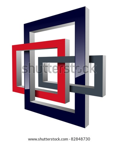 Abstract design, impossible figures, vector. - stock vector