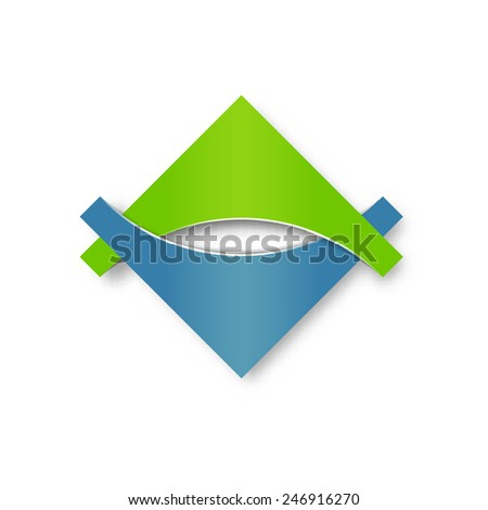 Abstract design logotype, icon or pictogram. Geometric shapes, easily editable colors.  - stock vector