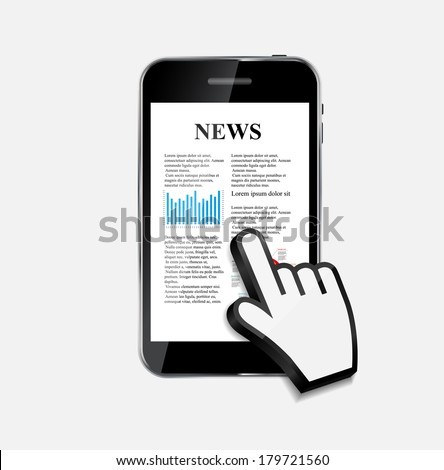 Abstract Design Mobile Phone with News Concept. Vector Illustration  - stock vector