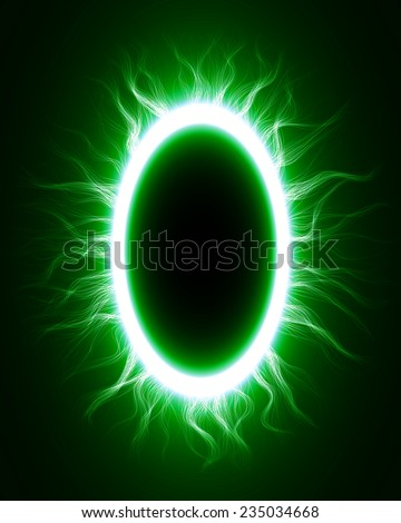 abstract design of green magic portal gate (outer,curved lines.vector version) - stock vector