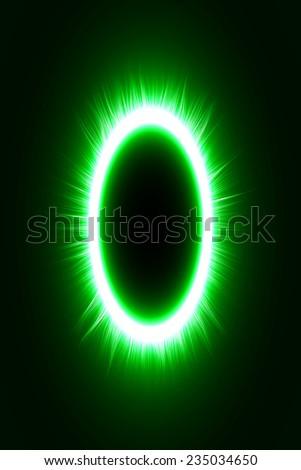 abstract design of green magic portal gate (outer,short lines.vector version) - stock vector