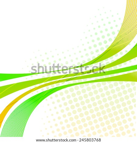 Abstract design of green waves with small dots on white background.