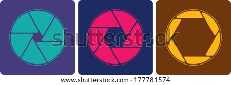 abstract design shutter apertures painted in modern colors. - stock vector