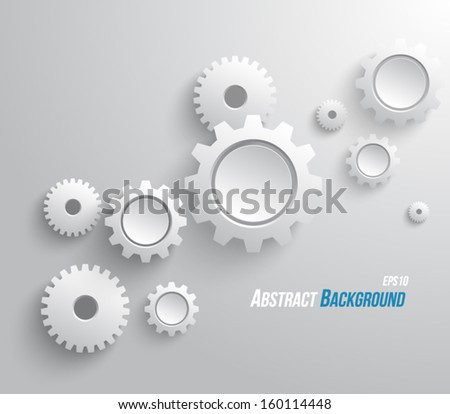 Abstract design template background with gears / cogwheels for websites, infographics or business design banners. Clean and modern style - stock vector