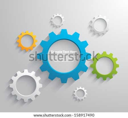 Abstract design template background with gears / cogwheels for websites (UI) or business design banners. Clean and modern style