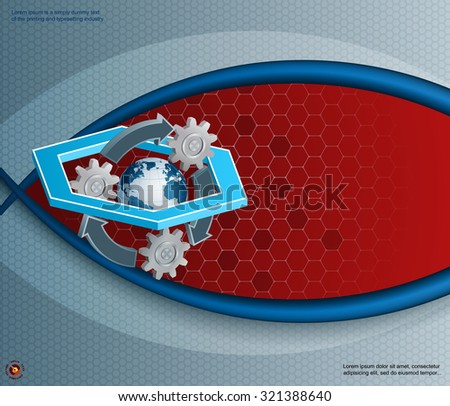 Abstract, design template with recycle/environment topic; Three dimensions composition made from hexagons, gear, Earth globe and recycle sign; Large space for text - stock vector