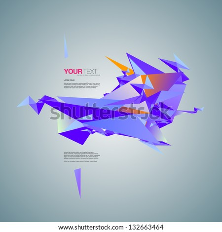 Abstract design vector background with text - stock vector