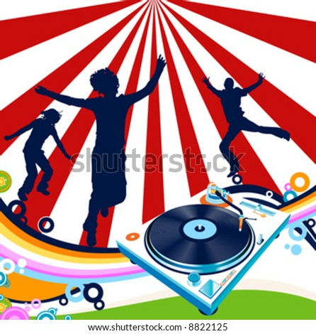 abstract design with turntable and rainbow - stock vector