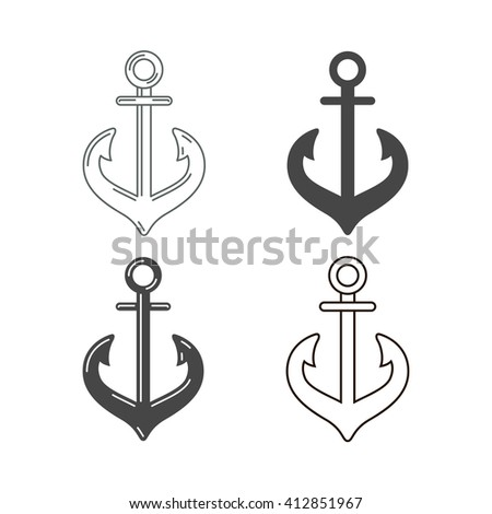 Abstract detailed anchor icons set. Isolated on white background. Vector illustration.