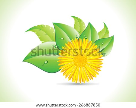 abstract detailed yellow flower with leaf vector illustration - stock vector