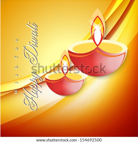 Abstract dewali card design with shiny vector diya on beautiful color background.