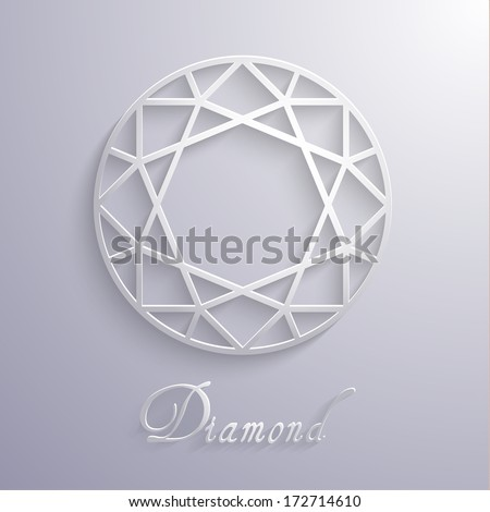 Abstract diamond shaped paper 3d icon - eps10 vector - stock vector