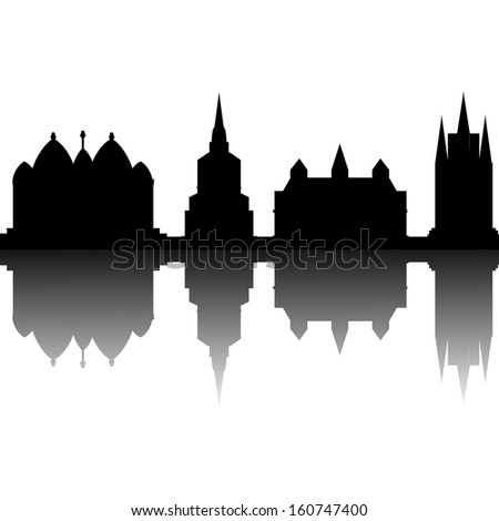 abstract different building silhouettes on white background