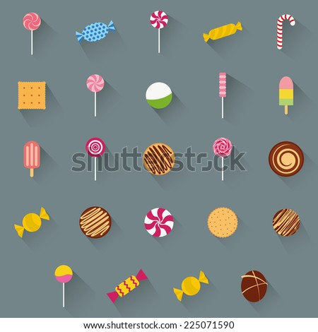 abstract different candies on a gray background - stock vector