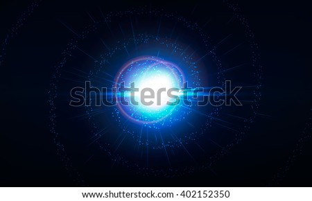Abstract digital background . realistic rays and highlights .Space ,orion ,earth vector illustration.Helix consist of neon lights on space background . Constellation illustration . Galaxy wallpaper . - stock vector