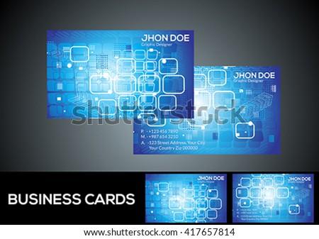 abstract digital blue business card vector illustration - stock vector