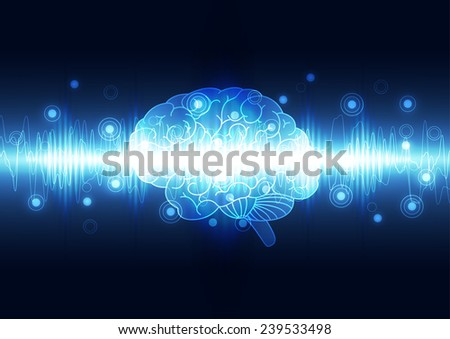 Abstract digital brain,technology concept background vector - stock vector