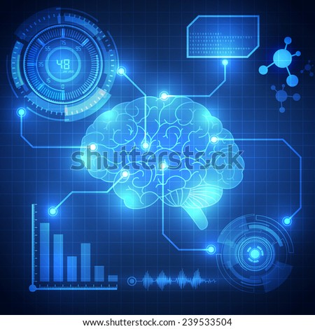 Abstract digital brain, technology concept background vector - stock vector