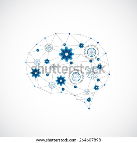 Abstract digital brain,technology concept. Vector - stock vector
