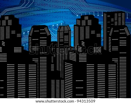 abstract digital city background vector illustration - stock vector