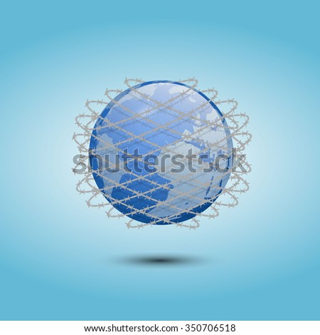 Abstract digital earth illustration wrapped in barbed wire. EPS 10 - stock vector