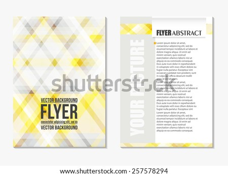 Abstract digital geometric modern grey and yellow color backgrounds. Back and front flyer. Light cover design template layout for corporate business book, booklet, brochure, poster, banner. Vector - stock vector