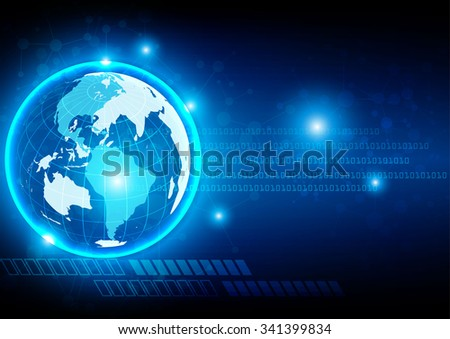 abstract digital global technology, abstract background. vector illustration - stock vector