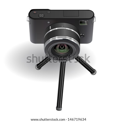 Abstract digital photo camera on small tripod. Vector illustration. - stock vector
