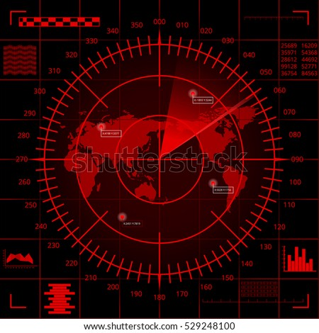 Abstract digital red radar screen with world map, targets and futuristic user interface on black background