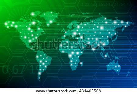 Abstract Digital Technology Background With World Map. Vector Template Design - stock vector