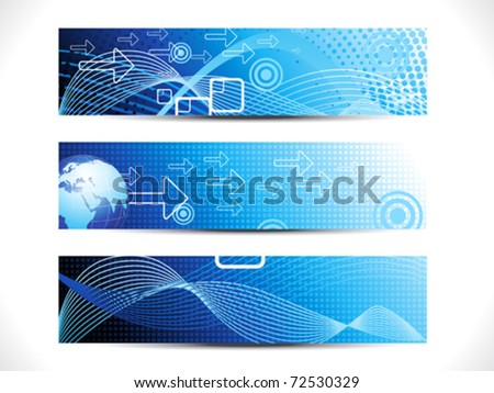 abstract digital web header set vector illustration - stock vector