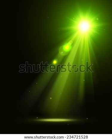 Abstract disco background with green spot lights and bright rays. - stock vector