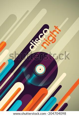 Abstract disco night poster design. Vector illustration. - stock vector