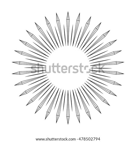 Abstract diverging rays swords in ring. Geometric shapes in circle or round shape. Stylized rays radiating from a central object or source of light.Vector illustration.